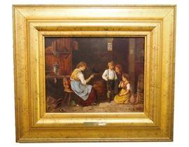Archibald Collins (1853-1922) Interior Scene  - Oil on Board