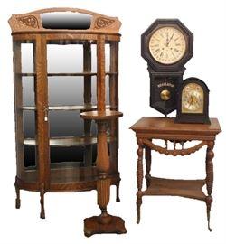 Oak Curved Glass China Cabinet, Oak Fern Stand, Seth Thomas Regaulator with Calendar