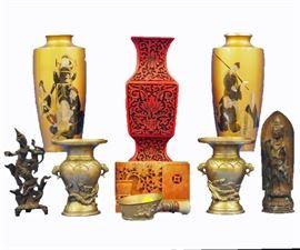 Cinnabar Vase, Pair of  Mixed Metal Vases, Thai Bronzes