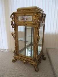 giltwood vitrine with Sevres tile inset