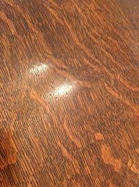 1930s - 40s Tiger Oak Draw-Leaf Table top