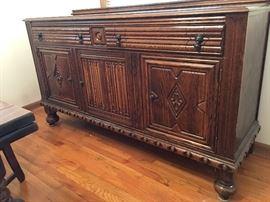 1930s - 40s Tiger Oak Buffet