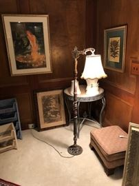 Artwork, lithographs, vintage floor lamps