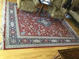 Red and Navy Persian Weave Wool Rug