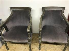 Gray velvet antique chairs