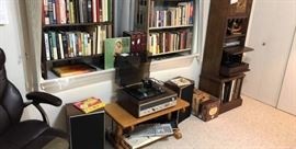 books and records, record player, and cabinet stereo with record player - they all are working