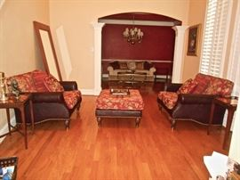 Lovely Leather/Upholstered Oversized Chairs & Ottoman