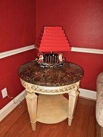 Fabulous Asian Lamp, Marble Top Table