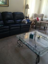 Leather sofa and love sest