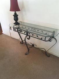 Glass and rod iron table Great for any room