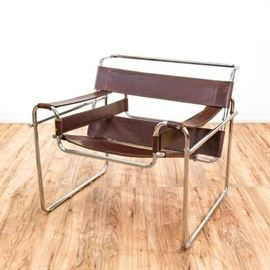 MARCEL BREUER STYLE LEATHER WASSILY ARMCHAIR