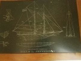 "Engraved slate table w/ ""Grand Banks Fisherman"" Isiah L. Jefferson"