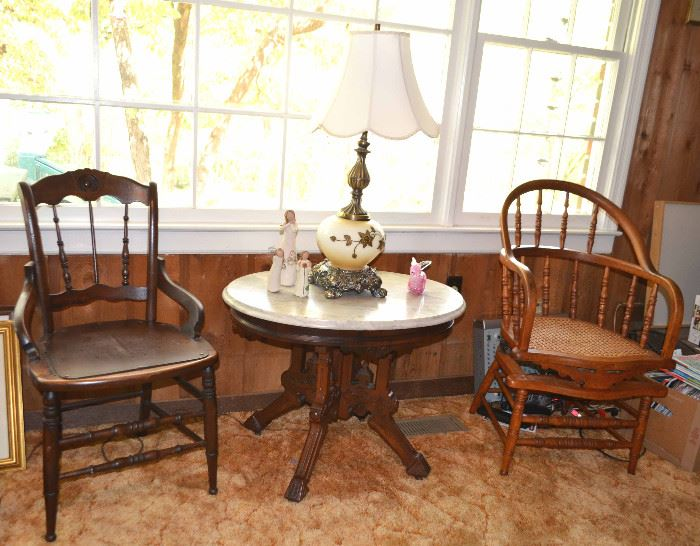selection of antique chairs, marble top parlor table