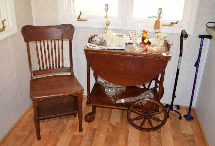 folding step-stool chair & teacart