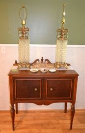 Hollywood Regency lamps on Sheraton style server