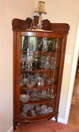 oak corner china cabinet w/curved glass