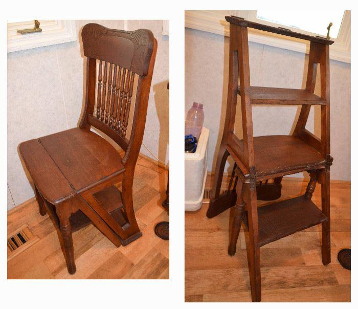 oak folding step-stool chair