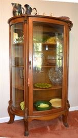 claw-foot oak curved glass china cabinet