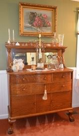 tiger oak carved clawfoot serpentine sideboard / buffet