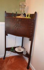 oak corner drop-front desk