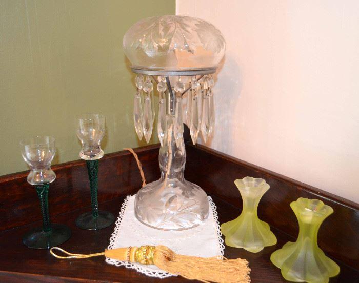 cut-glass crystal boudoir lamp