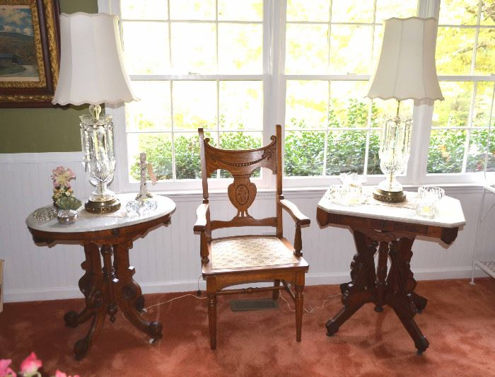 Eastlake parlor tables; carved oak chair; gorgeous crystal lamps