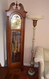 Colonial Mfg Co grandfather clock,  Art Deco Glass Torchiere Floor  Lamp