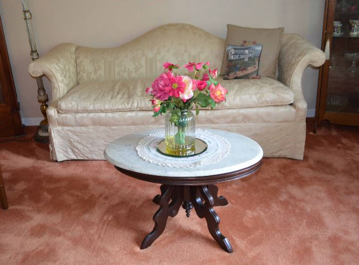 victorian camel-back sofa with down cushion; Eastlake marble-top coffee table