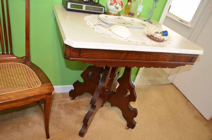 Eastlake marble top parlor table