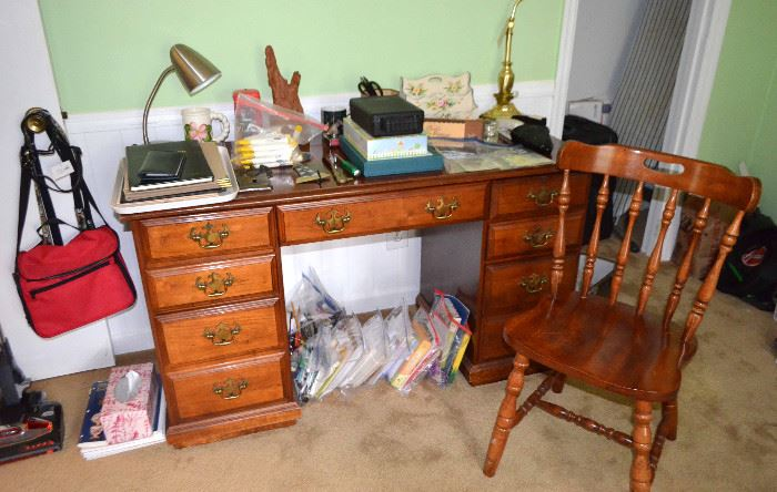 maple desk & chair; many lots of office supplies