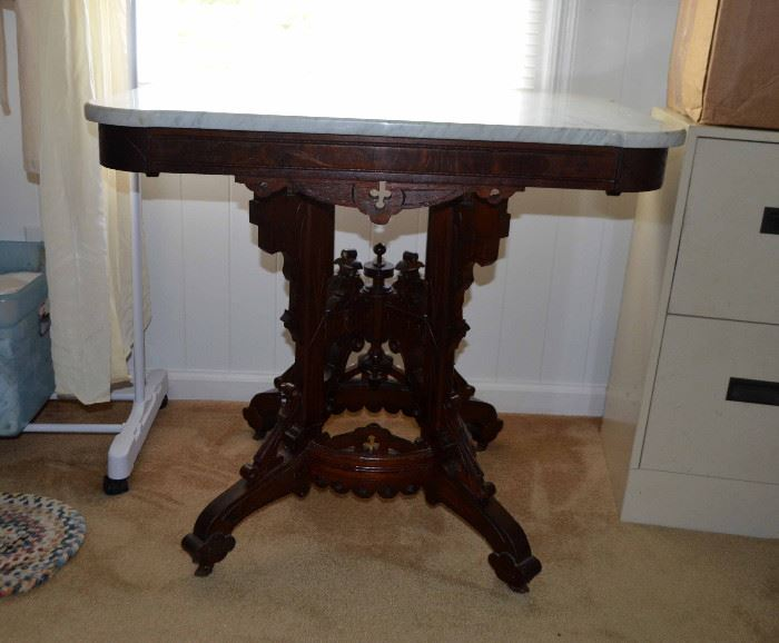 and another Victorian parlor table w/marble top