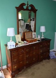 beautiful cherry dresser with mirror