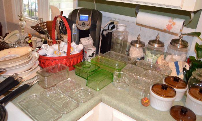 Keurig coffee maker; refrigerator jars, etc.