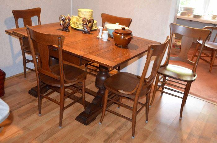 Antique oak draw leaf barrel-leg pub table & 6 chairs
