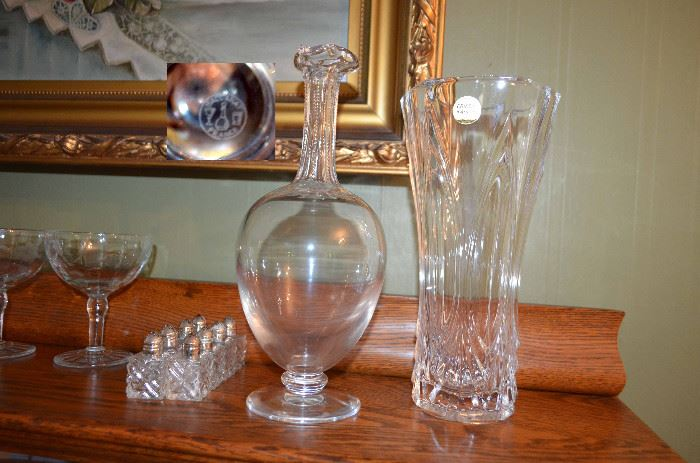 selection of crystal including a Baccarat decanter