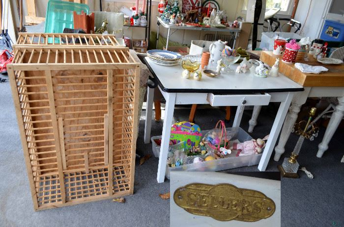 two wood chicken cages; Sellers enamel top kitchen table