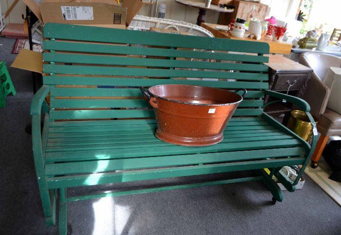 green painted glider; enamelware coal bucket
