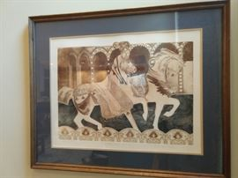 "Nicely framed/matted print, ""Carousel"", by Frances Vella,  #273/500."