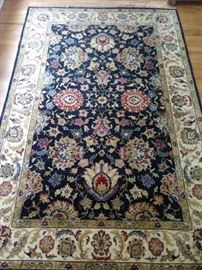 "Vintage hand woven Persian design Kashan design rug, measures 6' 9"" x 9' 8"", 100% wool face, hand woven."