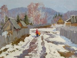 Winter scene, oil on linen, by Russian artist Ralif Ahmetshin.