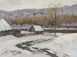 Winter scene, Snow with Barns, oil on linen, by Russian artist Ralif Ahmetshin.