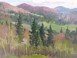 """May in Ural Mountains"", oil on linen, by Russian artist Ralif Ahmetshin."