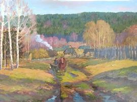 """Farmer, w/Horses, Village"", oil on linen, by Russian artist Ralif Ahmetshin."