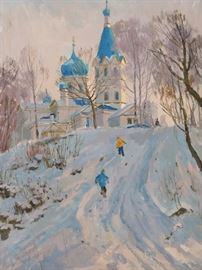 """Winter Fun"", oil on linen, by Russian artist Ralif Ahmetshin."