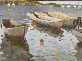 Dog Swimming w/Boats, oil on Canvas, by Ukrainian artist K. Lizogoob.
