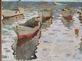 """Lonely Boats"", oil on Canvas, by Ukrainian artist K. Lizogoob"