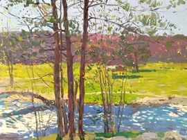 Trees, w/River, Gadsden, AL,  Plein Air oil on Canvas, by Russian artist Dmitriy Proshkin.