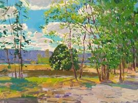 Forrest, w/Purple Mountain Majesty, Gadsden, AL,  Plein Air oil on Canvas, by Russian artist Dmitriy Proshkin.
