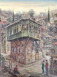 Tbilisi Georgia Village,  Original Oil on Canvas, by Russian artist I. Chitadze.