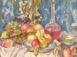 Soviet School Original Oil on Linen, Still Life, w/Fruit, Crystal Decanter, by Ukrainian Artist A. Taleev.